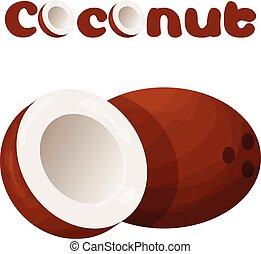 Coconut icon, cartoon style