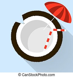 Coconut icon in a flat style