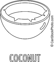 Coconut icon, outline style.