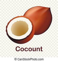 Coconut icon, realistic style