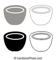 Coconut icon set grey black color
