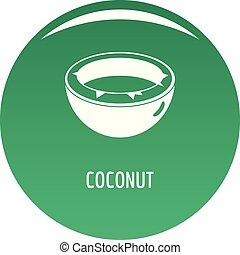 Coconut icon vector green