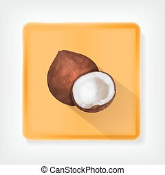 Coconut. Icon with long shadow. EPS10 vector