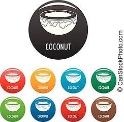 Coconut icons set color