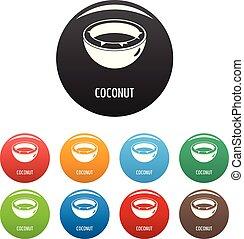 Coconut icons set color vector