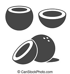 Coconut Icons set on White Background. Vector