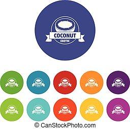 Coconut icons set vector color