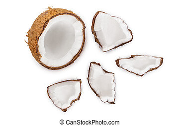 coconut isolated on white background. Top view. Flat lay