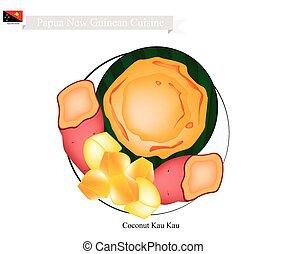 Coconut Kau Kau or Papua New Guinean Baked Sweet Potato