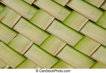 Coconut leaves weave pattern background