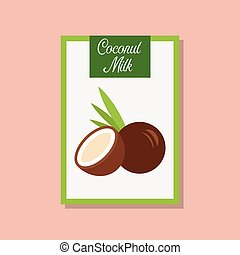 Coconut milk icon in flat style