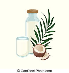 Coconut milk in a glass bottle. Healthy lifestyle.