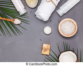 Coconut, brush and other spa related items, top view