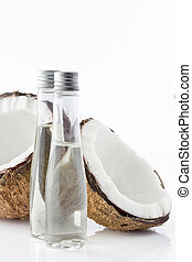 coconut oil - Close up view of spa theme objects on white...