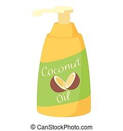 Coconut oil icon, cartoon style