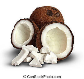 Coconut On A White Background - Coconut on a white...