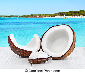 Coconut on seascape background