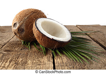 coconut on white background - coconut on rustic plank with ...