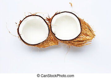 Coconut on white background. Top view