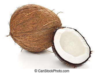 Coconut on white background.