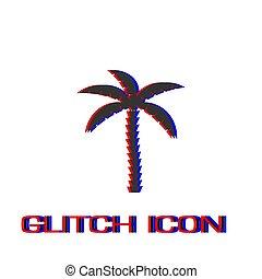 Coconut palm tree icon flat.