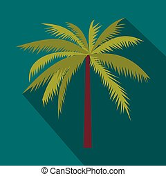 Coconut palm tree icon in flat style