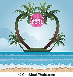 Coconut Palm Tree on Island Frame - Summer Beach, Sea, Sand,...
