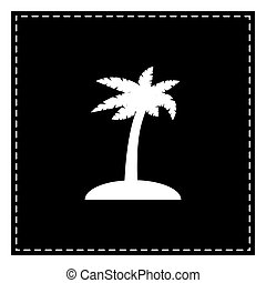 Coconut palm tree sign. Black patch on white background. Isolate