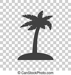 Coconut palm tree sign. Dark gray icon vector