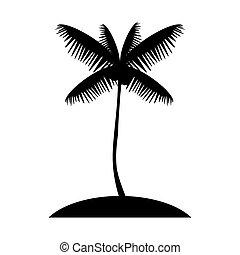 Coconut palm tree silhouette, exotic island web icon. vector des