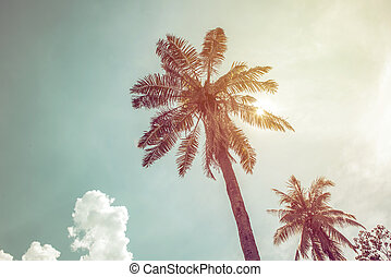 Coconut palm trees in tropical beach Thailand