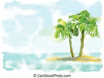 coconut palm trees on small island - vector watercolor...