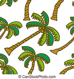 Coconut Pattern Seamless Vector Template