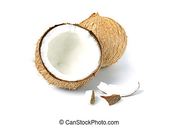 Coconut pieces isolated on a white background. full depth of field