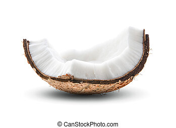 Coconut pieces isolated on white background