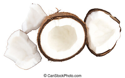 Coconut pieces isolated on white background with clipping path