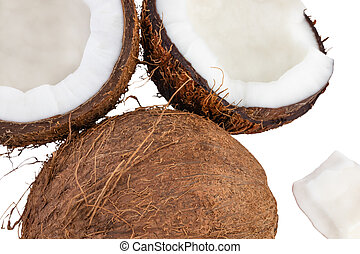 Coconut pieces top view isolated on white background