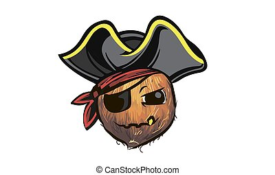 coconut pirate. coconut in a pirate hat. a cartoon coconut pirate.