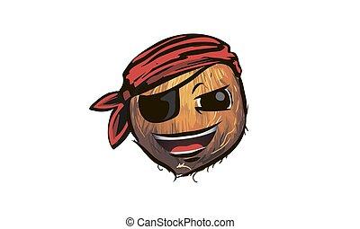 coconut pirate. coconut in a pirate hat. a cartoon coconut pirate.