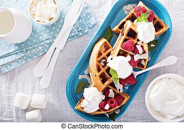 Coconut raspberry waffles