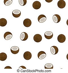 Coconut seamless vector pattern.
