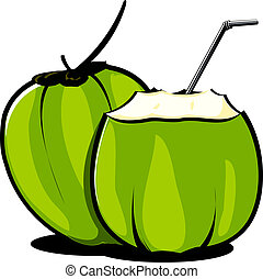 Coconut	 - Illustration of tender coconuts and straw