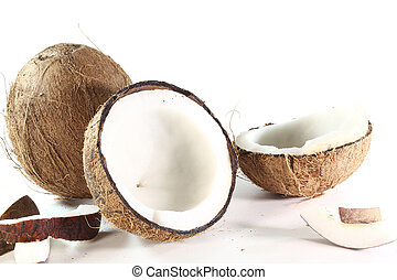 Coconut - fresh coconut with coconut meat on a white...