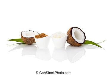 Coconut sugar and coconut oil.