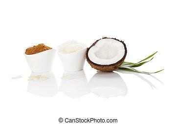 Coconut sugar and oil.