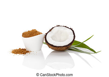 Coconut sugar isolated.
