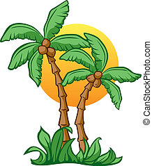 Coconut Sunrise - Vector Illustrationn of Coconut Trees and...