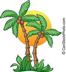 Coconut Sunrise - Vector Illustrationn of Coconut Trees and ...