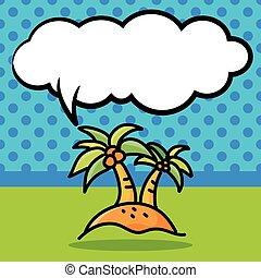 coconut tree color doodle
