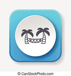 Coconut tree hammock icon